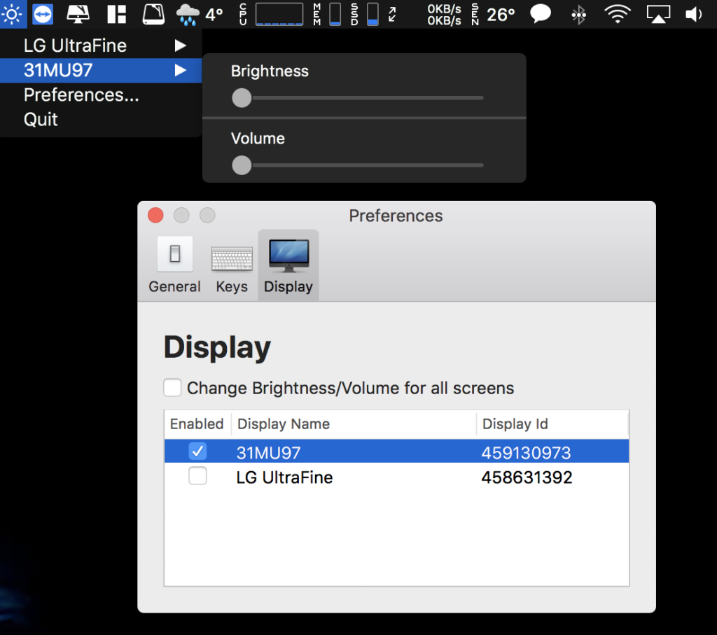 Control your external monitor brightness & volume on your